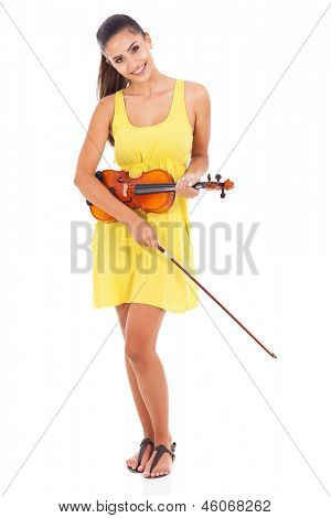 beautiful young woman posing holding violin on white background
