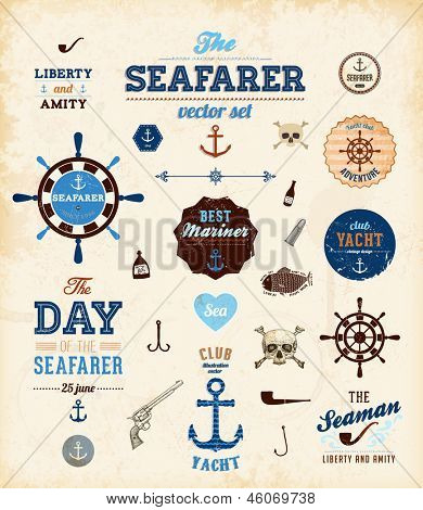 Vector sea set: calligraphic retro design elements and page decoration, Seafarer with Shipbuilder Label collection, anchors and skulls. All for vintage design.