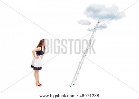 Full length portrait of a young woman standing in front of a ladder with cloud and looking, isolated on white background