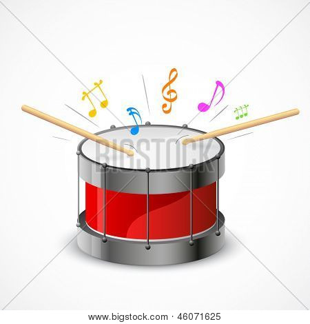 illustration of music notes coming out of drum beats