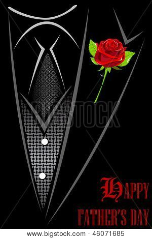 illustration of man in suit with red rose tucked in Happy Father's Day