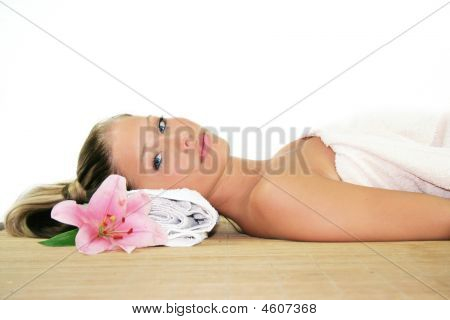 A Woman Is Relaxing In Spa