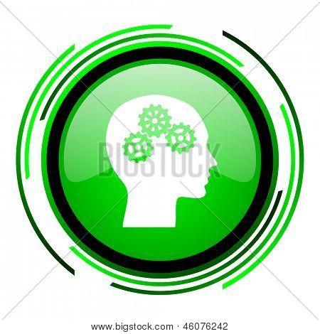 head green circle glossy icon