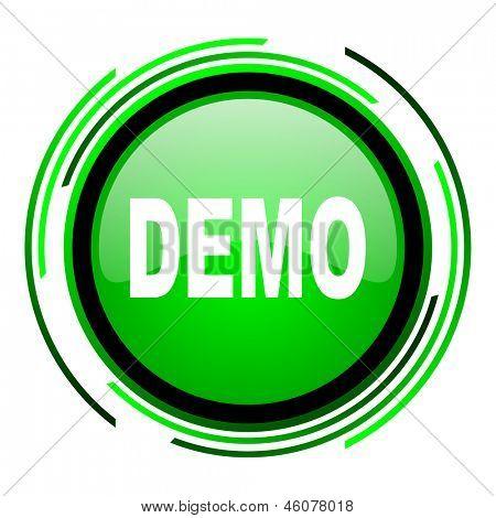 demo green circle glossy icon