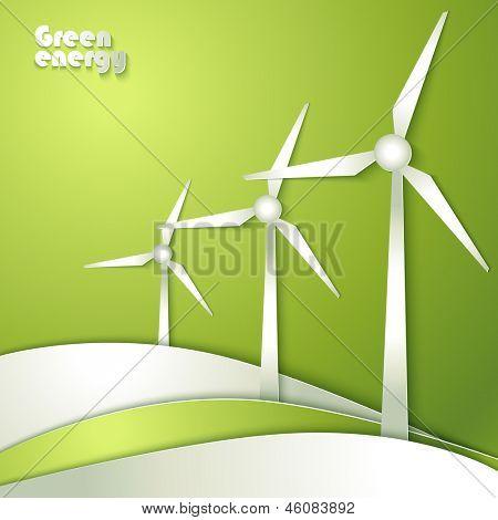 Grupo de siluetas de molinos de viento en fondo verde.