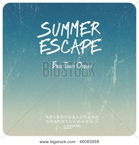 Summer travel set. Grunge background with hand-drawn alphabet. Vector