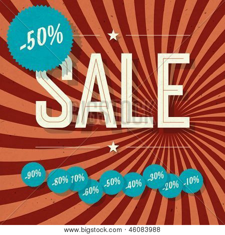 Sale retro poster. Template with textured sunburst background and different discount tags, vector.