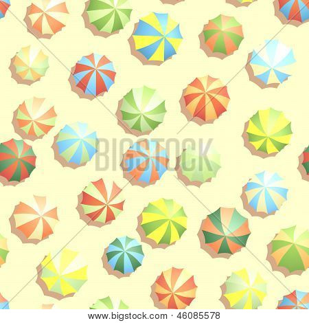 Seamless Background Many Parasols On Beach.