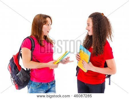 Teenage college students talking to each other