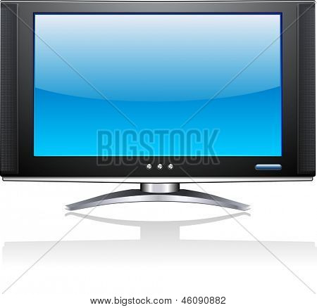 Flat Plasma LED LCD Display TV Screen Isolated Illustration