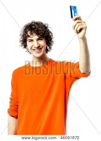 one young man caucasian happy holding credit card portrait  in studio white background