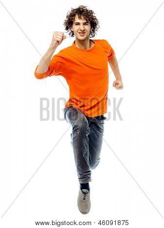 one young man caucasian running front view  in studio white background