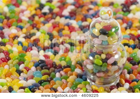 Jellybeans With Jar On The Side