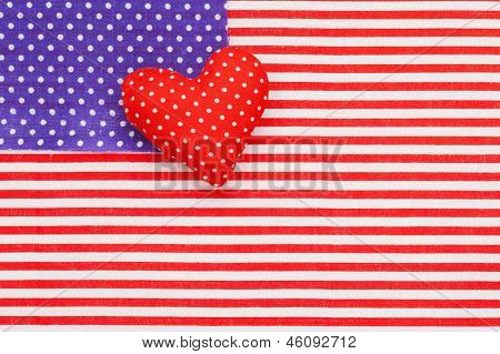 Blue Polka Dots Pattern And Red/white Striped Fabric As American Flag. Stuffed Heart