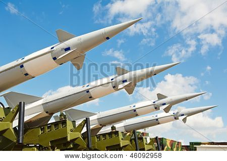 defense forces weapon. antiaircraft missles rockets with warhead aimed to the sky