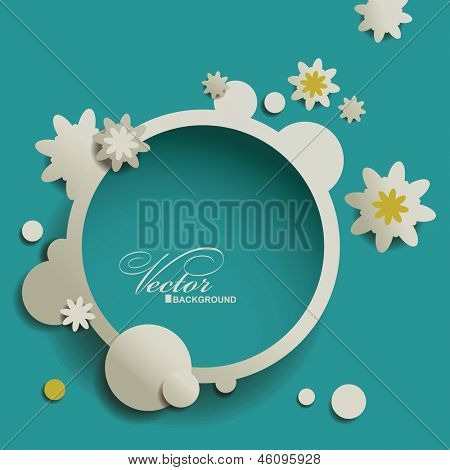 Abstract Speech bubble with  flowers. Background template