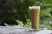 foto of frappe  - Iced coffee drinks on the table timber - JPG