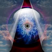 stock photo of freemason  - Crystal Ball reveals eye - JPG