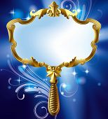 Isolated raster version of vector image of gold Magic mirror on the luminous blue starry background