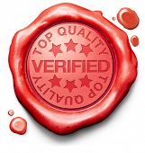 stock photo of confirmation  - verified top quality label red wax stamp icon confirmed qualityes certificate 100 - JPG