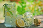 stock photo of elderflower  - elderflower juice on wooden table and green background - JPG