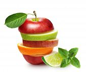 picture of mint-green  - Apples and orange fruit with lime and green mint leaves isolated - JPG