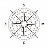 picture of nautical equipment  - Black compass rose isolated on white  - JPG