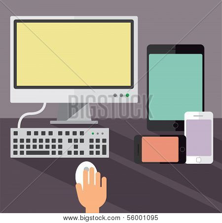 Desktop computer, smartphones and a tablet