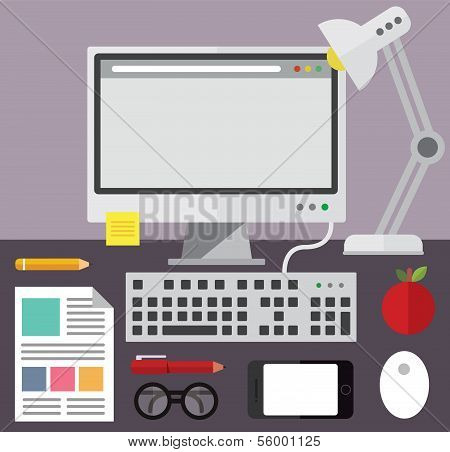 Desktop computer and desk objects