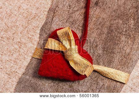 Valentine Background Hand-sewn Heart Texstile