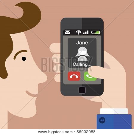Man answering a phone call