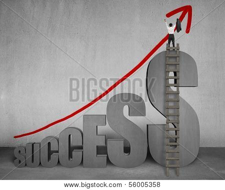 Businessman Standing On Top Of Success With Ladder, Growing Arrow