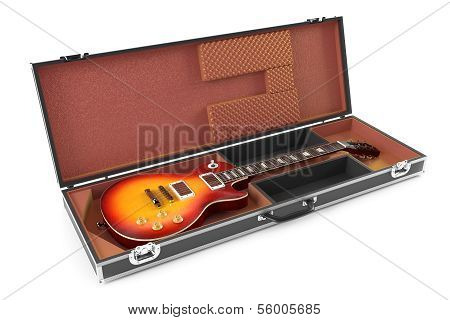 electric guitar in brown Case isolated