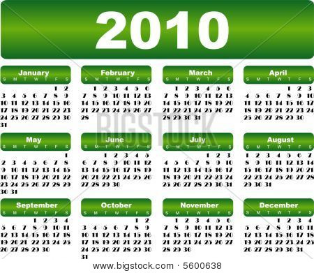 Green calendar for 2010 year