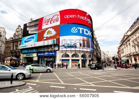 LONDON - APR 16  Famous Piccadilly Circus with neon signage have become a major attraction of London on April 16, 2012 in London, United Kingdom