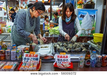 Grilled Oyster in Miyajima