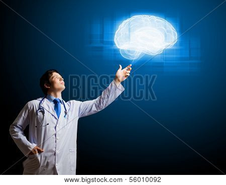 Image of male doctor touching with finger media illustration