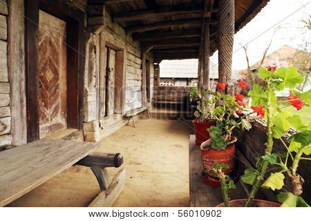 Architectural detail of a romanian traditional wooden house