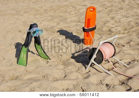 Rescue Equipment On Beach