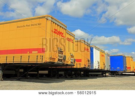 Row Of Cargo Containers At Storage Area