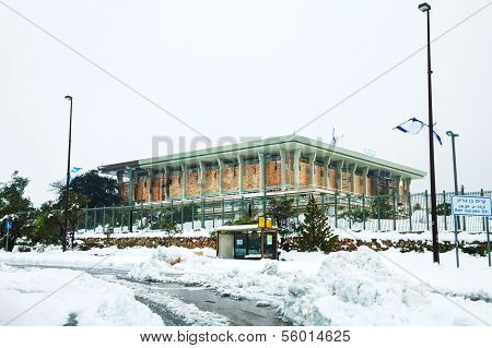 The Knesset In Jerusalem Covered With Snow