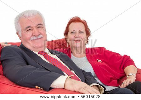 Stylish Senior Couple In Red