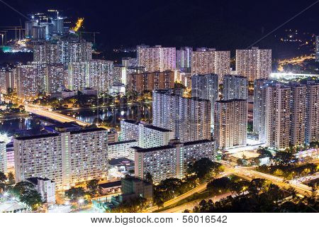 Hong Kong Residential Buildings At Night