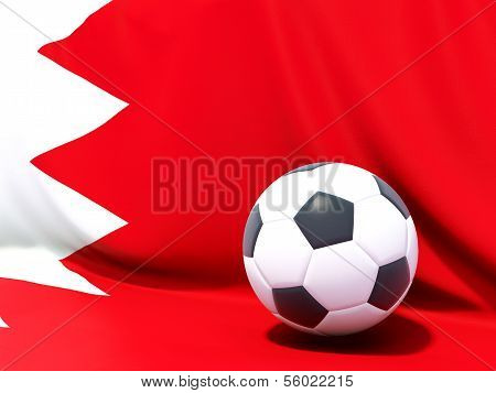 Flag Of Bahrain With Football In Front Of It