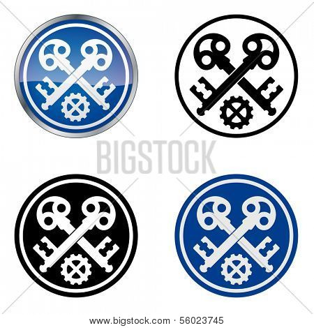 Locksmith - Traditional Craftsmen's Guild Vector Symbol, four variations