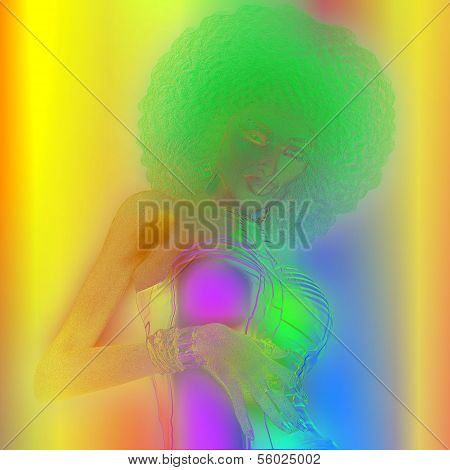 Abstract Blur,Retro Woman with Afro
