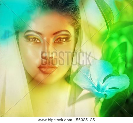 Surreal image of womans face.