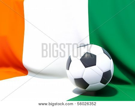 Flag Of Cote D Ivoire With Football In Front Of It