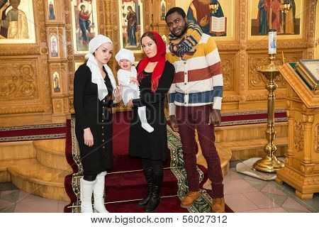 Almaty, Kazakhstan - December 17: Christening Ceremony On December 17, 2013 In Almaty, Kazakhstan. F