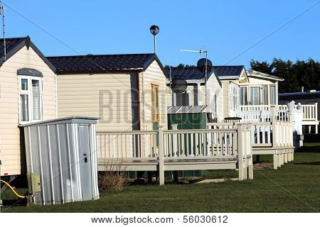 Row of static trailers in caravan park, Scarborough, England.